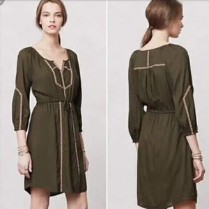 Edme Esyllte Olive Green Tribal Trim Dress
